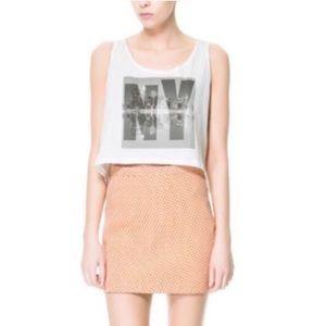 Zara Trafaluc Size Peach Black Polka Dots Mini